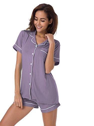 SIORO Women's Cotton Pajamas 2 Piece Short Sleeve Sleepwear Loungewear Tank Top with Shorts Gray Purple M ()