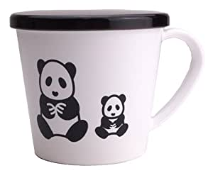 Sanyi lacquerware HanaBlomst black and white mug with lid / panda HSN-11-04 (japan import)