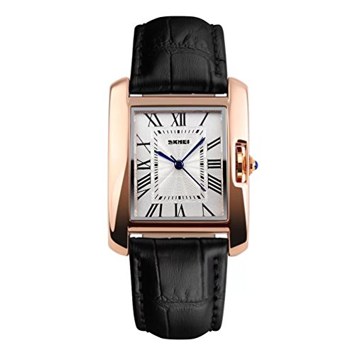 Women's Classic Analog Quartz Square Minimalist Wrist Watch Business Casual Designer Leather Dress Band Sport Watched Waterproof Rose Gold Tone - Black