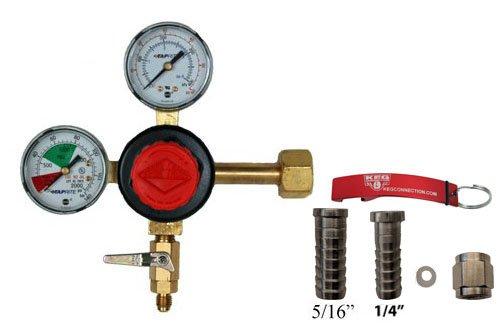 (Taprite Dual Gauge CO2 Beer Regulator with MFL Check Valve Bundle by Kegconnection)