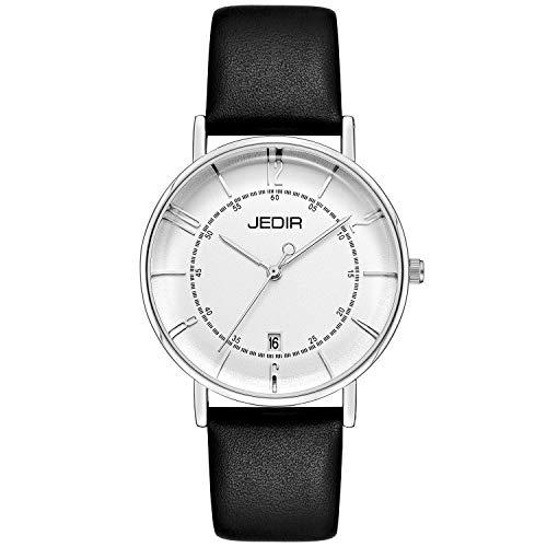 - JEDIR Women's Watch Minimalist Fashion Quartz Wristwatch Analog with Date White Dial and Soft Black Leather Strap