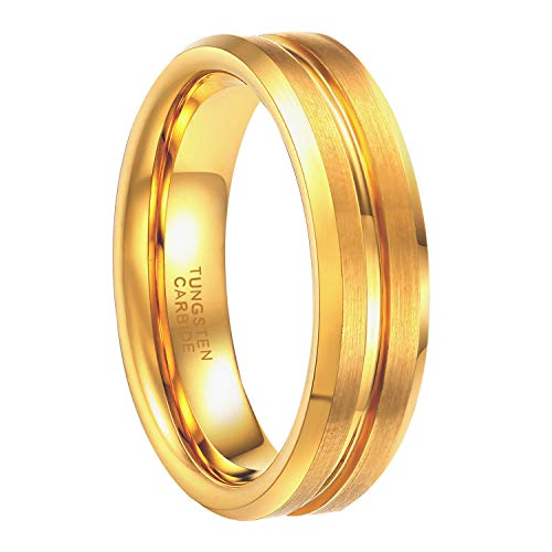 Greenpod 6mm Gold Plated Wedding Band Men's Tungsten Carbide Ring Thin Groove Line Beveled Edge Comfort Fit Size 9