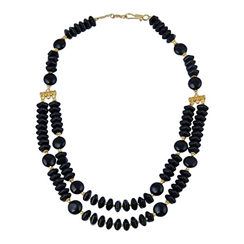 Pearlz Gallery Bountiful Coin, Fancy Cut Roundel Shaped Black Agate Gem Stone Beads Necklace for Women ()