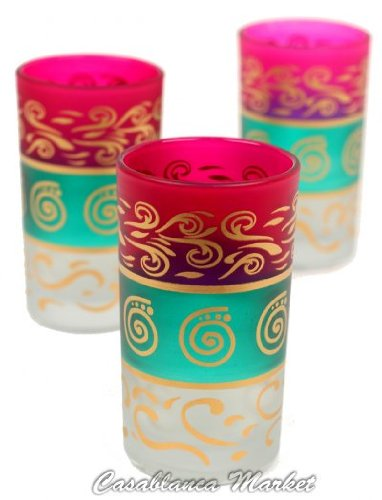 Moroccan Kiss Me Water or Tea Glasses Pink/Green/White (Set of 6)