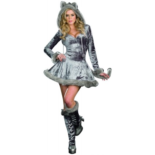 Dreamgirl Women's Sexy Bad Wolf Zip Front Velvet Dress, Gray, Medium - Wolf Costumes Sexy
