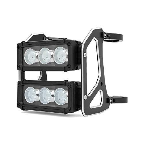 Max-Inc Heavy Duty Daymaker Custom Design Dual Stacked Motorcycle LED Light Bar Headlight, Low & High Beam, 6X 10W LED Lights, 40/41mm Fork Brackets