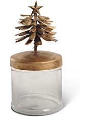 K&K Interiors B9766 Sm Glass Canister with Metal Gold Tree