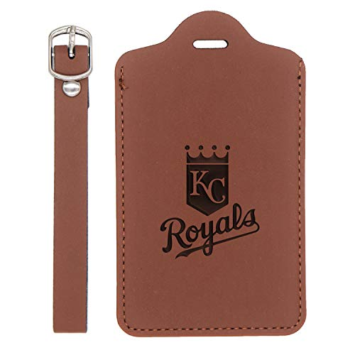 (Mlb Kansas City Royals 1 Engraved Synthetic Leather Luggage Tag (Chestnut Brown - Set Of 2) - United States Standard - Handcrafted By Mastercraftsmen - For Any Type Of Luggage)