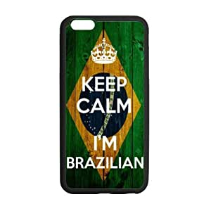 Keep Calm I'm Brazilian Wood Brazilian Flag Pattern Pattern iPhone 6 Plus Case Covers Anti-Scratch Extreme Protection Compatible with iPhone 6 Plus 5.5inches TPU(Laser Technology) by lolosakes