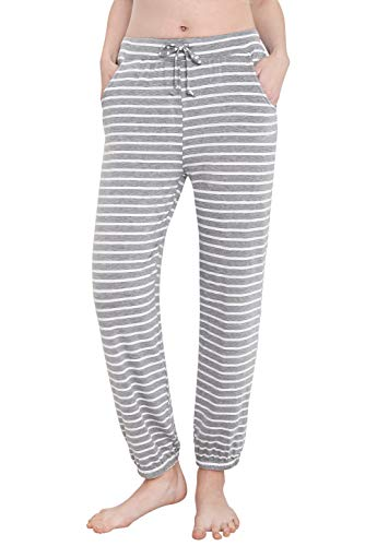 Vislivin Women's Stretch Knit Pajama Pants Modal Sleep Pant Gray Stripe L