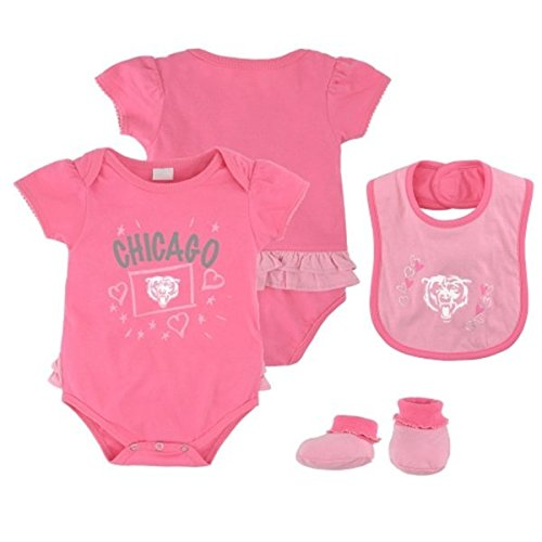 Chicago Bears Pink Newborn Creeper, Bib and Bootie Set by Adidas (Bib Creeper Newborn)