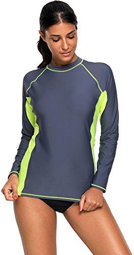 Dear-Queen Womens Long Sleeve Tankini Tops Color Block Swim Shirt Swimsuit Top DQ410486G-XL by Dear-Queen
