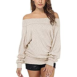Sunhusing Ladies Large Size Solid Color Off-Shoulder Long Sleeve Sweater Shirt Leisure Pullover Tops