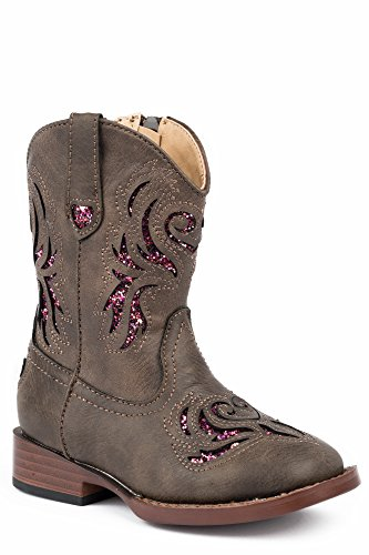 Toddler Cowgirl Boots - Roper Kids Baby Girl's Glitter Breeze (Toddler) Brown Faux Leather/Glitter Cut Outs 7 M US Toddler