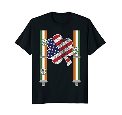 American Flag St Patricks Day Shirt Funny Irish Suspenders