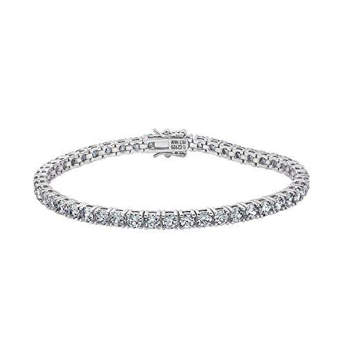 - DIAMONBLISS Platinum Clad 4.28 ct Cubic Zirconia 100 Facet Tennis Bracelet- 8