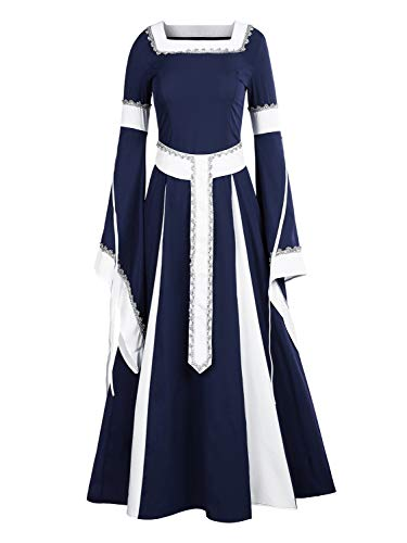NiuBia Womens Deluxe Medieval Dress Renaissance Costumes Victorian Irish Over Long Dress Cosplay Retro Gown -