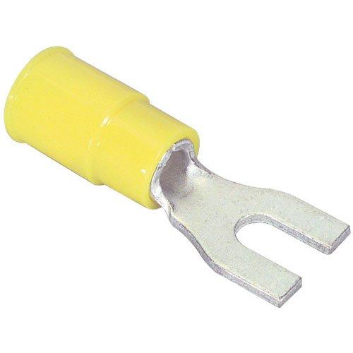 #6 (12-10) Fork Spade Lug Crimp Terminal Yellow 50 Pcs. (Lugs Solderless Terminal)