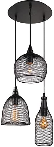 Unitary Brand Antique Black Metal Nets Shade Multi Dining Room Pendant Light with 3 E26 Bulb Sockets 120W Painted Finish