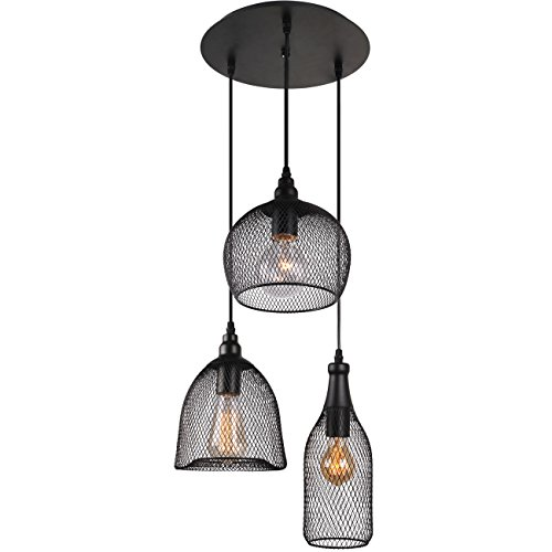 Multi pendant light fixture amazon unitary brand antique black metal nets shade multi pendant light with 3 lights painted finish aloadofball Gallery