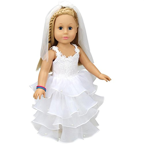 Communion Girl Figure - ChainSee Wedding White Communion Bride Dress&Veil For 18'' American Girl Doll Clothing Accessories Toy (White)