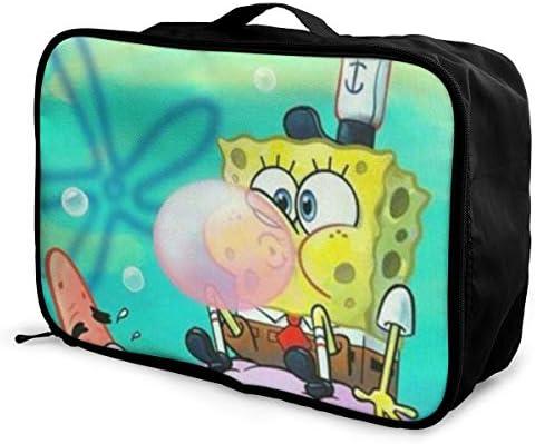 ボストンバッグ スポンジボブ キャリーオンバッグ トラベルバッグ 大容量 厚手 丈夫 荷物 折りたたみ スーツケース固定可 旅行 出張 男女兼用 かわいい おしゃれ
