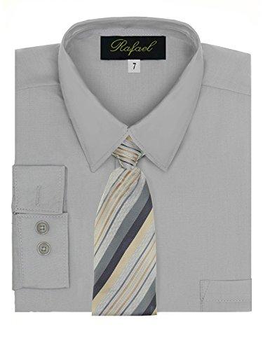 Boy's Dress Shirt & Tie – Silver, 7