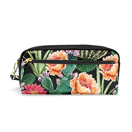(Pencil Case School Supplies - Makeup Organizer Stationary Bag with Double Zippers Big Capacity Compartments for Adults Girls Boys - Floral Summer Tropical with Blooming Cactus Succulents Aloe Vera)