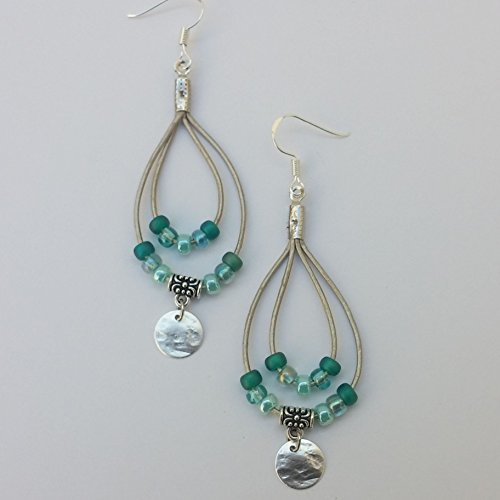 Teal Hoop Silver (Teal Beaded Leather Hoop Earrings With Silver Hammered Disk and Sterling Silver Ear Wires)