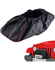 Black Waterproof Soft Winch Cover,Winch Dust Cover Heavy Duty Winch Protection Cover with Elastic Band for Electric Winches 8500-17500 lbs Capacity Trailer SUVs