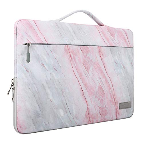 """MoKo 13-13.3 Inch Laptop Sleeve Case Compatible with MacBook Air 13-inch Retina, MacBook Pro 13"""", HP Dell Acer Lenove Notebook Computer, Protective Carrying Bag with Pocket, Pink Gray Marble"""