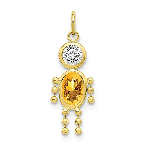 10k Yellow Gold November Boy Birthday Month Colored Stone Charm ()