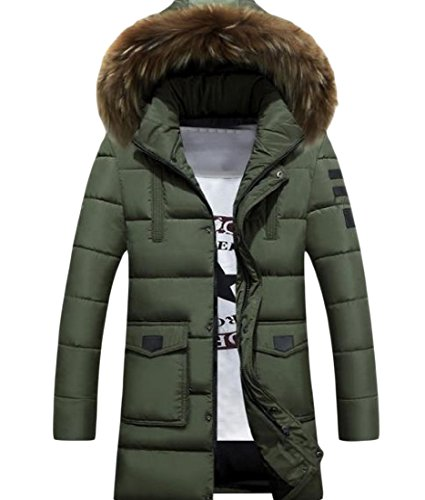 Coat Mid Pea with Thicken Men Solid Long Warm XINHEO Army Jacket Hood Green qTYxz