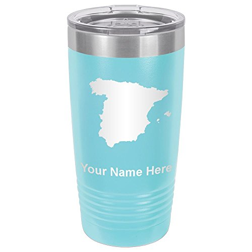 20oz Tumbler Mug, Country Silhouette Spain, Personalized Engraving Included (Light Blue) by SkunkWerkz