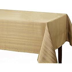 "Benson Mills Flow ""Spillproof"" Fabric Tablecloth, 60X84 Inch, Ivory/Ecru"