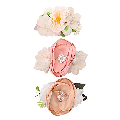 (Baby Girl Floral Hair Clips Set - BEAMIO 3 pcs Flower Crown Hair Bows Barrettes for Teens Toddlers Hair Accessories(Pealr Clips))