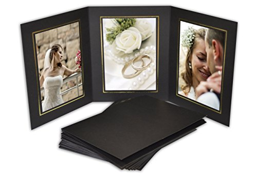Golden State Art, Cardboard Photo Folder for 3 5x7 Photo (Pack of 50) GS005 Black Color by Golden State Art (Image #4)