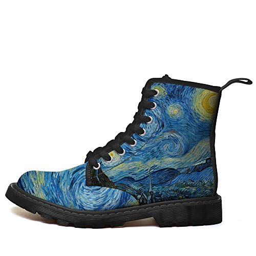 Van Gogh Starry Night Oil Painting Printed Women Men Boots High Top Casual Canvas Shoes Sneakers (10 M US Women / 9 M US Wen /CN42, Blue MD001C)