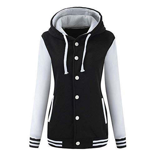 Rambling Women's Winter Varsity Baseball Hoodie Jacket Outerwear Bomber Coat Sport Sweatshirt