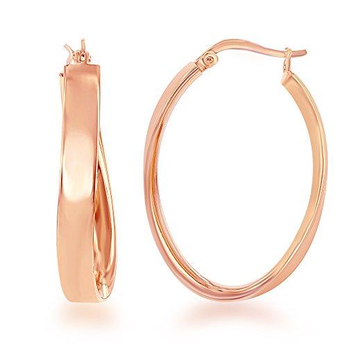 -Plated 25mm x 35mm Twisted Hoop Earrings ()