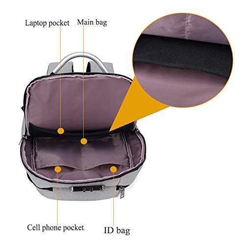 Auriculares Hombres Impermeable Zhrqinss USB Contraseña Carga De Ocio De Antirrobo Bloqueo Y Mochila Viaje Puerto 1 De Smart con Agujero Negocios De De Laptop qf7trf