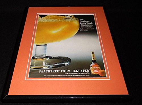 1987 Peachtree Schnapps Fuzzy Navel DeKuyper Framed 11x14 ORIGINAL Advertisement
