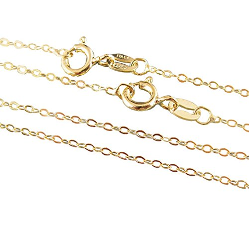 22K Gold Plated, Vermeil,925 Sterling silver Chain,Necklace -Cable Flat Oval- Finished Necklace for Pendant -All Sizes (22 inches)