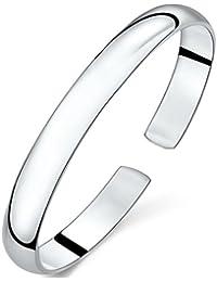 Simple 925 Sterling Silver Color Open Bangle Bracelet for Women