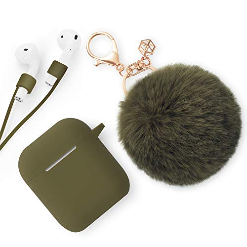 ODUMDUM Apple AirPods Case, Cute Case Drop Proof (Silicone Skin and Cover) with Fluffy Fur Ball Keychain and Anti-Lost Strap for Apple Wireless Headset, Gift for Girls, Lady(Olive)