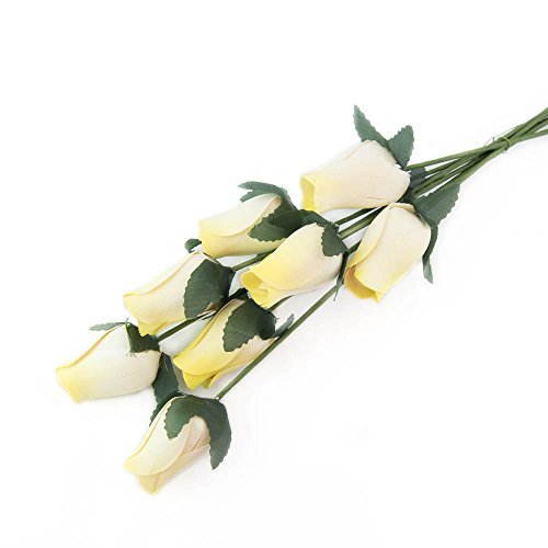 White Roses with Yellow Tips Bunch of 8 Closed Bud Wooden Roses For Crafts Custom Bouquets and other DIY Projects. Choose form Over 50 Colors (Halloween Clown Scare)