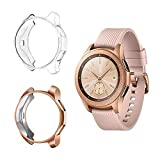 Suoman Compatible Samsung Galaxy Watch 42mm Case, Soft Plated TPU All-Around Protective Bumper Cover Case for Samsung Galaxy Watch 42mm Smartwatch, 2-Pack Rose Gold, Clear