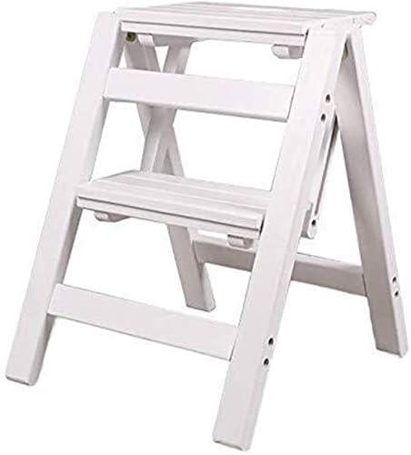 HOMRanger Escalera Plegable - Taburete con peldaños Escalera de Madera pequeña Taburete Plegable con 2 peldaños - Taburete Plegable Taburete con peldaños con Escalera portátil (Color: Marrón): Amazon.es: Hogar