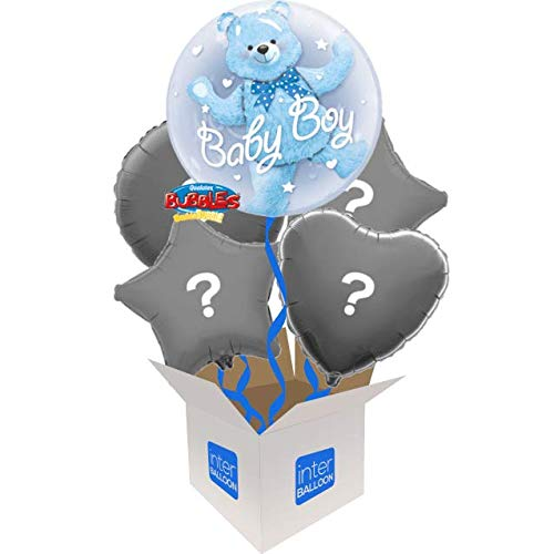 5 Balloon Bouquet InterBalloon Helium Inflated 24  Double Bubble Baby Boy Bear Balloon Delivered in a Box with 4 Extra Balloons of your choice