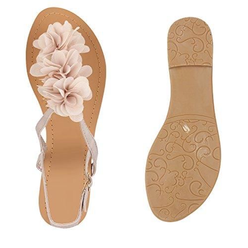 Stiefelparadies Damen Sandalen Zehentrenner Blumen Sommerschuhe Flats Damenschuhe Übergrößen Gr. 36-42 Flandell Nude Blumen